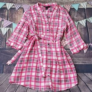 Silk Plaid Shirtdress with Belt